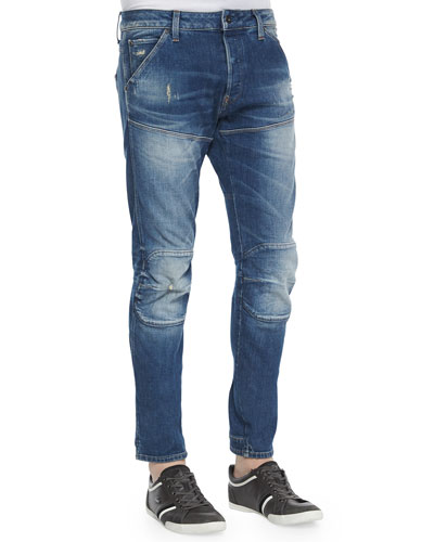 Faded Wash Slim-Stretch Moto Jeans, Medium Blue