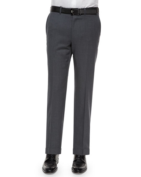 Flat-Front Wool Trousers, Gray