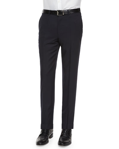 Flat-Front Wool Trousers, Navy