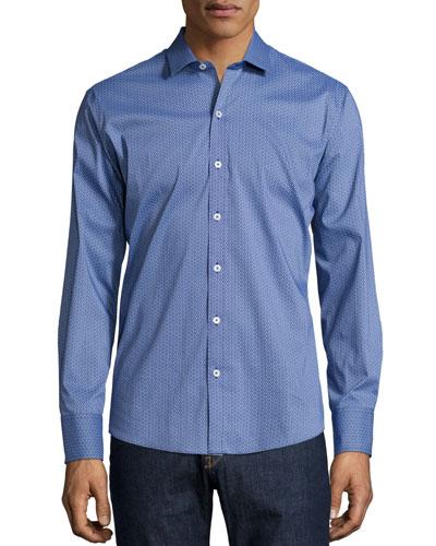 Micro-Print Stretch-Cotton Sport Shirt