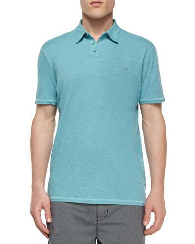 Short-Sleeve Peace Sign Polo Shirt, Light Blue