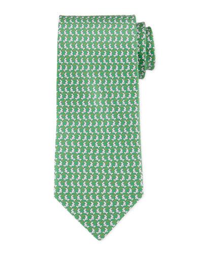Woven Fish-Print Tie, Green