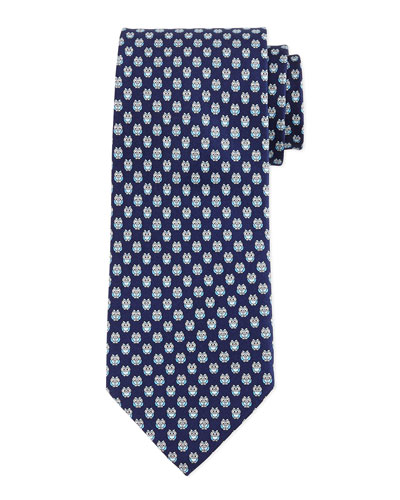 Owl-Print Silk Tie, Navy