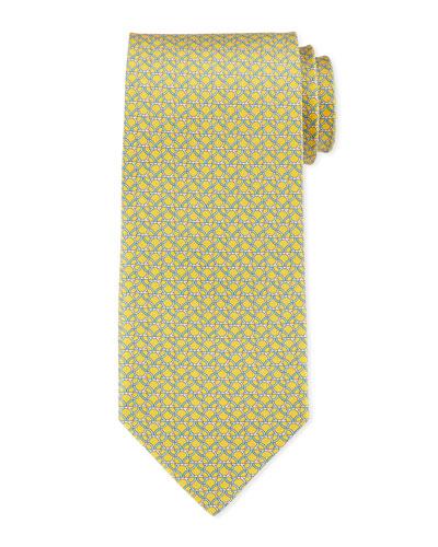 Linked Gancini-Print Woven Tie, Yellow
