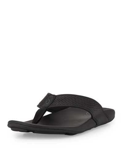 Kekoa Perforated Thong Sandal, Black
