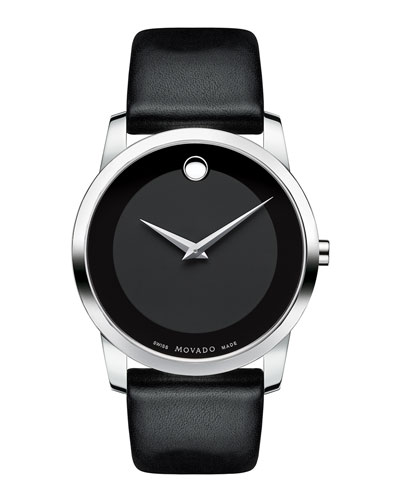 40mm Museum Classic Watch with Leather Strap, Black