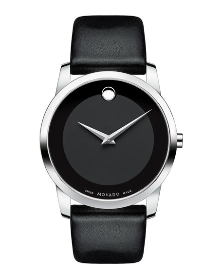Movado 40mm Museum Classic Watch with Leather Strap,