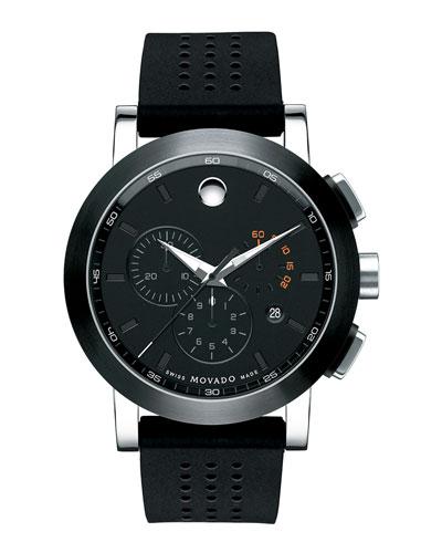 44mm Museum Sport Chronograph Watch, Black/Orange