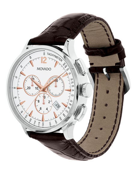 42mm Circa Chronograph Watch with Crocodile Strap, White/Brown