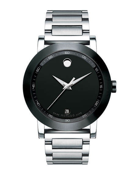 Movado 42mm Museum Sport Stainless Steel Watch, Black