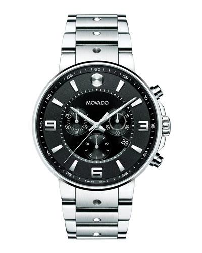 SE Pilot Chronograph Watch, Silver/Black