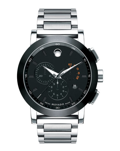 44mm Museum Sport Chronograph Watch, Silver/Black