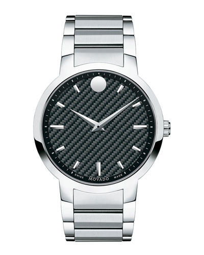 Gravity Stainless Steel Watch with Black Carbon Fiber