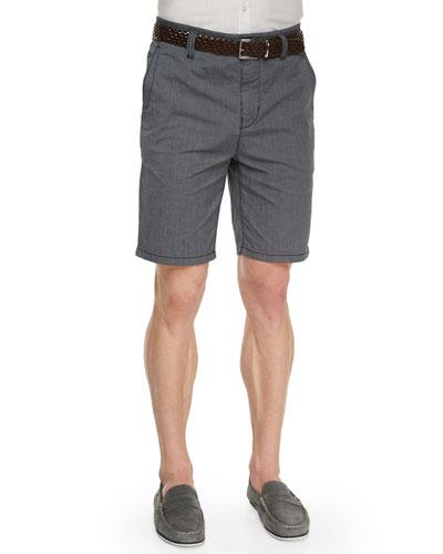 Contrast-Stitch Woven Shorts, Marine