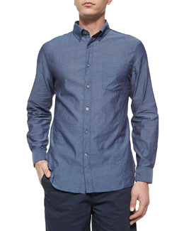 Solid Roll-Tab Woven Shirt, Blue