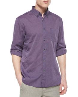 Solid Roll-Tab Woven Shirt, Purple