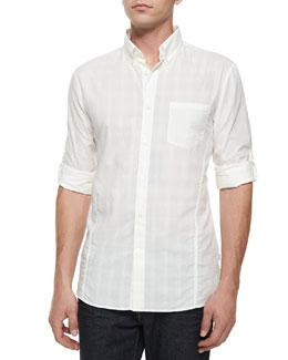 Tonal Plaid Roll-Tab Woven Shirt, White