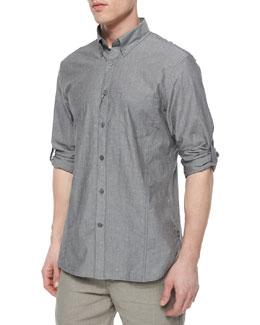 Kelp Roll-Tab Woven Shirt, Gray
