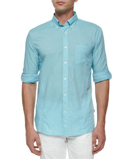 Solid Roll-Tab Woven Shirt, Light Aqua