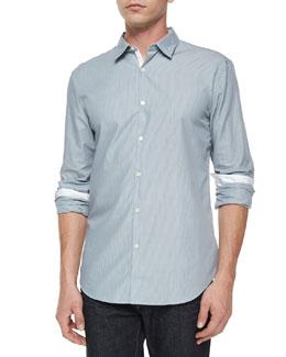 Slim-Fit Contrast Placket Shirt, Blue