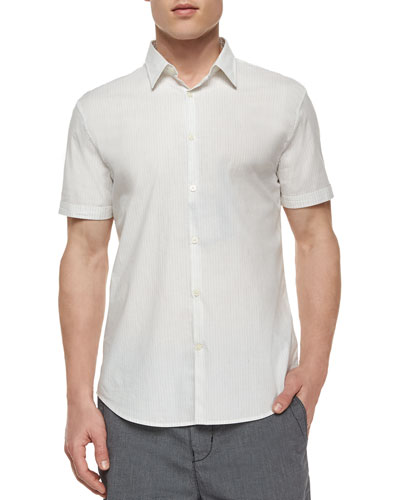 Striped Short-Sleeve Sport Shirt, White