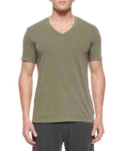 V-Neck Jersey Tee, Taupe