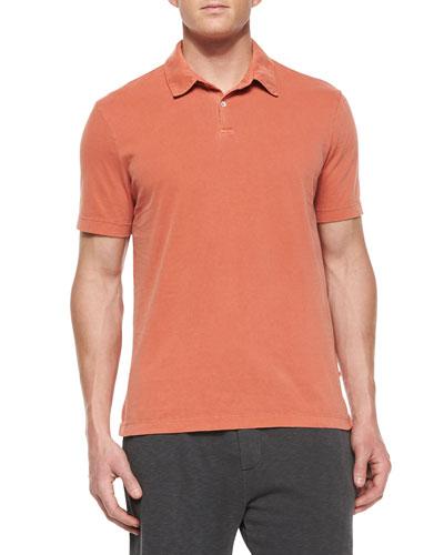 Short-Sleeve Knit Polo Shirt, Light Red