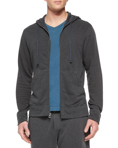 Cotton-Knit Zip Hoodie, Charcoal