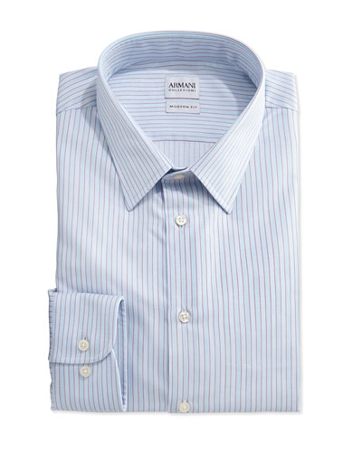 Modern-Fit Striped Dress Shirt, Aqua/White