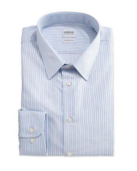 Armani collezioni modern fit striped dress shirt aqua for Modern fit dress shirt