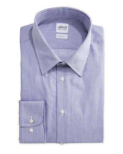 Modern-Fit Striped Dress Shirt, Denim/White