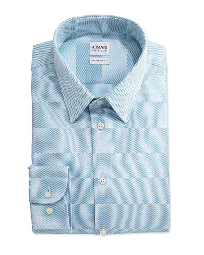 Textured Micro-Check Dress Shirt, Aqua