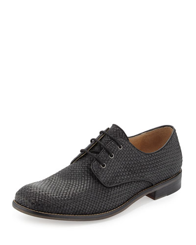 Sid Woven Lace-Up Derby Shoe, Black Sand