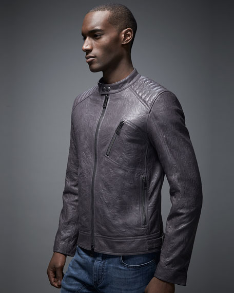 Belstaff Kirkham K Racer Leather Jacket, Charcoal