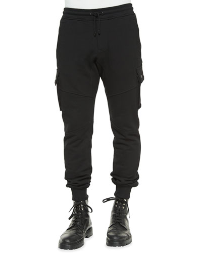 Blackwater Tapered Moto Sweatpants, Black