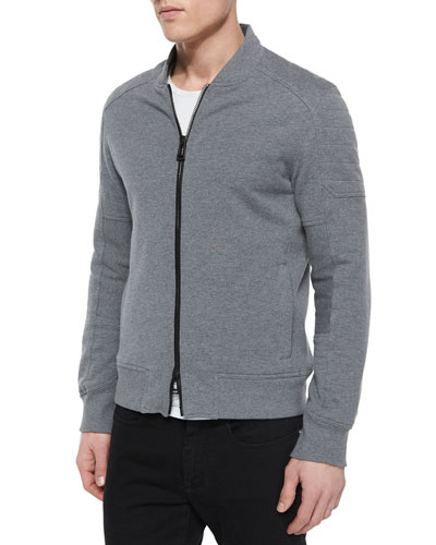Belstaff Deveron Moto Zip-Up Fleece Jacket, Gray