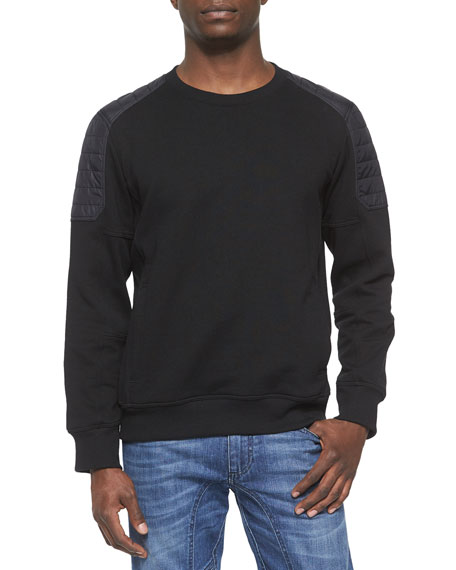 Belstaff Chanton Moto Fleece Sweater, Black