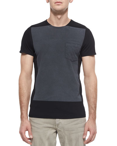 Hallet Two-Tone Jersey Tee, Black