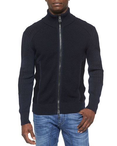 Cleveland Textured Full-Zip Sweater, Blue
