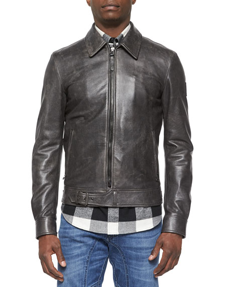 Belstaff Heritage Ryder Faded Leather Jacket, Black