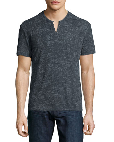 Burnout Short-Sleeve Henley Tee, Blue
