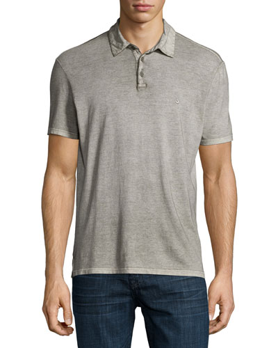 Short-Sleeve Peace Sign Polo Shirt, Olive