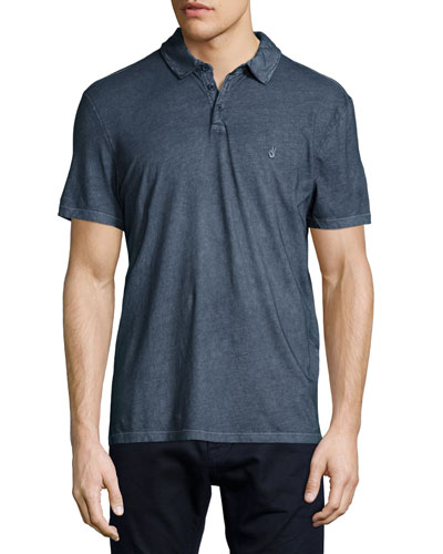 Garment-Wash Peace Polo Shirt, Blue