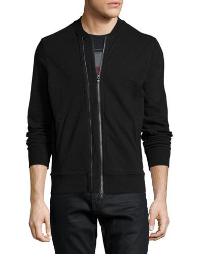 John Varvatos Star USA Zip-Through Knit Jacket, Black