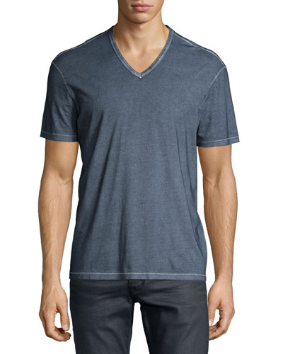 Washed V-Neck Knit Tee, Blue