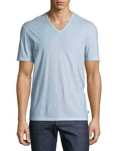 Washed V-Neck Knit Tee, Light Blue
