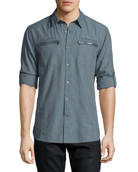 John Varvatos Star USA Double Zip-Pocket Woven Shirt, Blue
