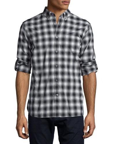 Check Roll-Tab Woven Shirt, Charcoal