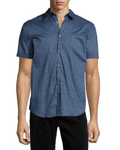 Floral-Print Short-Sleeve Woven Shirt, Blue
