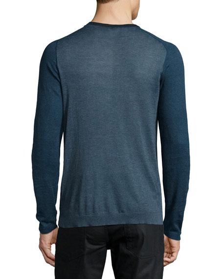 Raglan-Sleeve Knit Henley Shirt, Blue